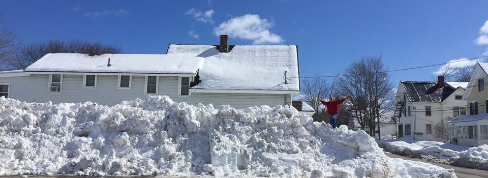 Snow pile outside the Main Street branch.